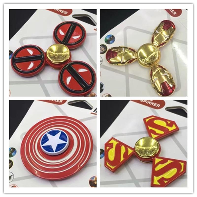 Captain America Shield Deadpool Superman Ironman Design CE Metal Hand Fidget Spinners Hot Cartoon Designs 30pcs