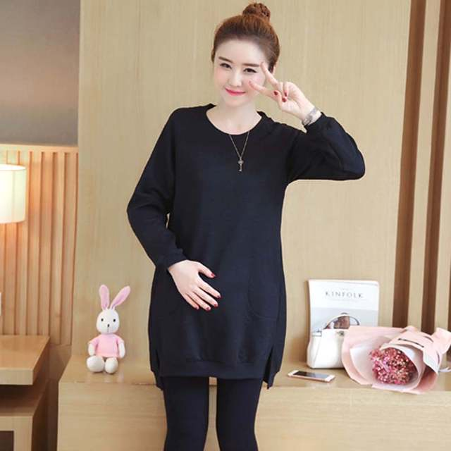 248d1f555a9 HziriP 2017 New Autumn Winter Maternity Dress Solid Black Pink Thicker  Sweater Casual Pregnant Clothes Loose