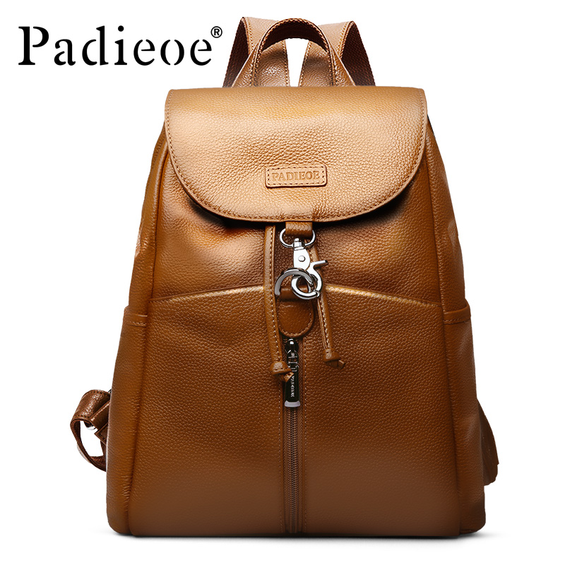 Brand Padieoe Women And Men Genuine Leather School Bag For Teenagers Unisex Fashion Backpack Lady Travel Casual Cowhide Backpack литой диск replica hnd96 6x16 4x100 d54 1 et52 s