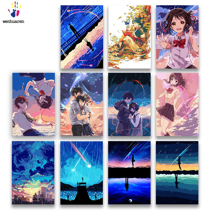 DIY colorings pictures by numbers with colors your name Xinhaicheng anime youth picture drawing painting by numbers framed Home