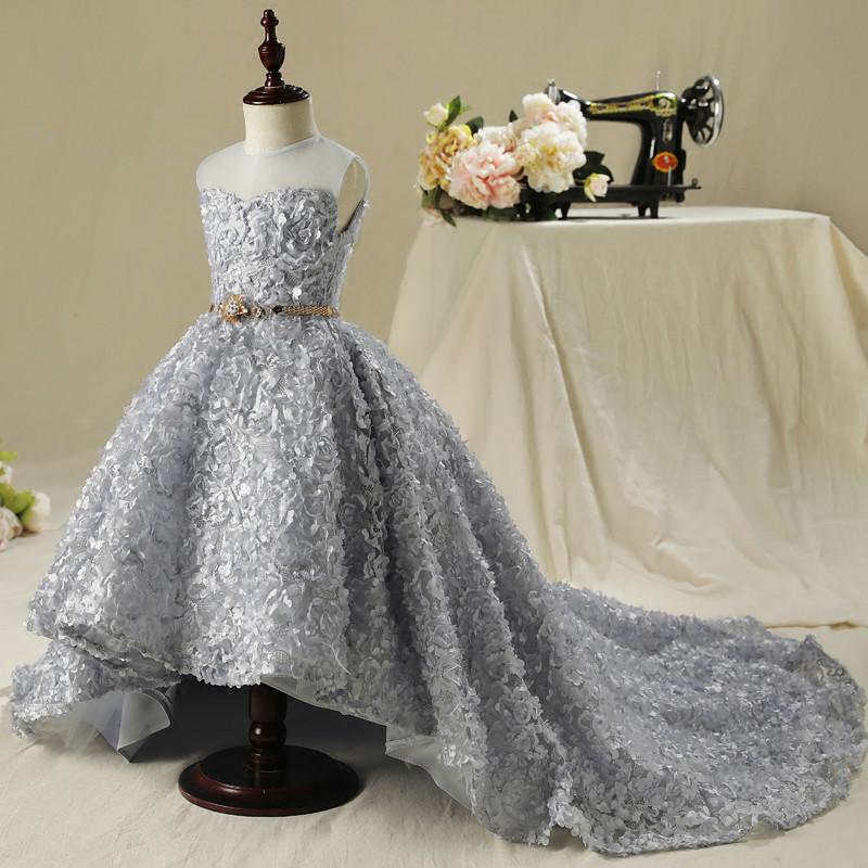 Free shipping Gray flower girl dress Elegant girl party dress