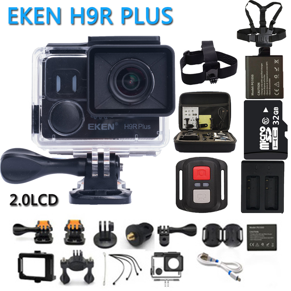 EKEN H9R Plus Action Camera Ultra HD 4K Ambarella A12 4k/30fps for Panasonic 34112 14MP waterproof wifi sport Cam 1080p@60fps eken h6s a12 ultra 4k 30fps wifi action camera 30m waterproof 1080p go eis image stabilization ambarella 14mp pro sport cam