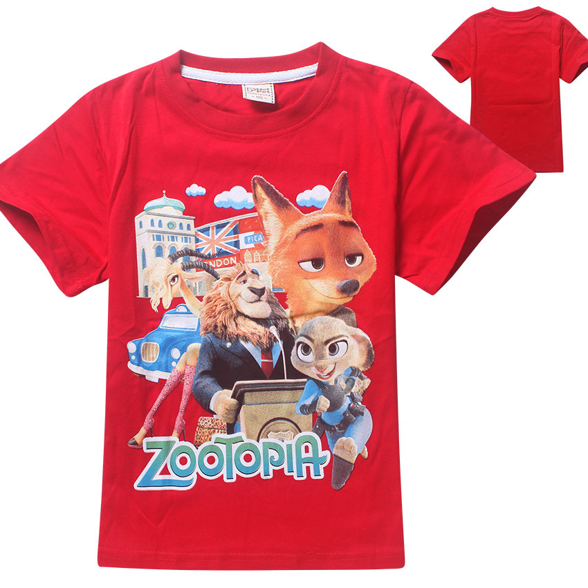 Girls Clothes New Summer Zootopia Tops Tees monster Childrens Clothing tshirt Vaiana Moana Cartoon T-shirt Kids Clothes