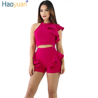 HAOYUAN Two Piece Set Women 2017 Summer Bodycon Tracksuit Long Sleeve Sport Suit Sexy White Crop