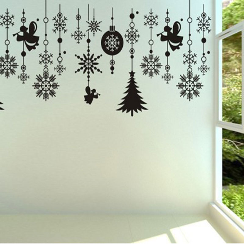 Christmas Tree Snowflake Balls Hanging Chain Vinyl Window Stickers Showcase  Glass White Decorations Wall Stickers 100*75CM In Wall Stickers From Home  ...