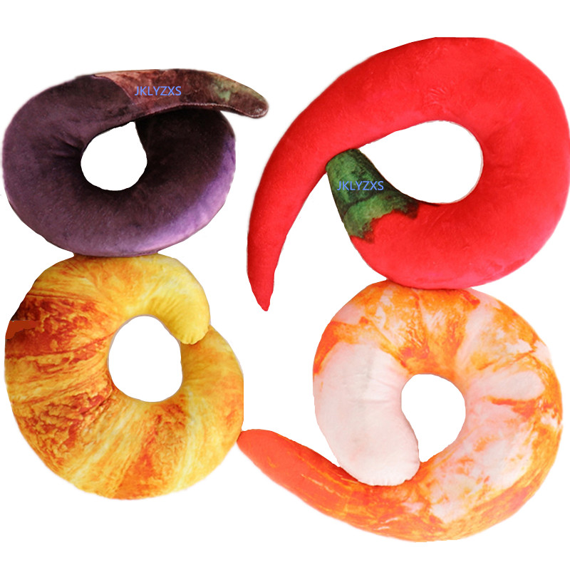 40CM Creative Plush Peeled Prawns Pepper Eggplant Croissant Stuffed Animals Plush Toys U Neck Pillow Shrimp Cushion Kids Toys