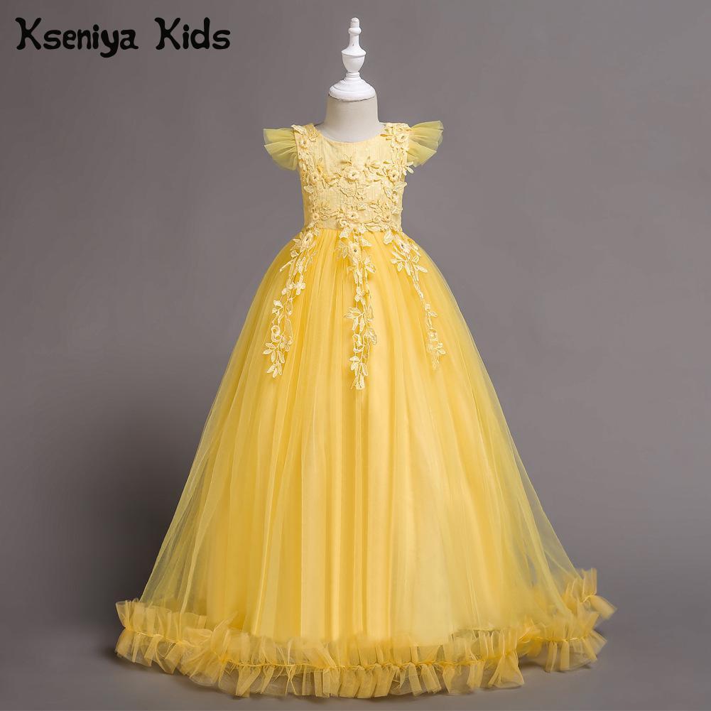 Kseniya Kids 2018 New Girls Princess Dress Children's Dress Mesh Piano Performance Clothing Girl Birthday Wedding Dress For Girl