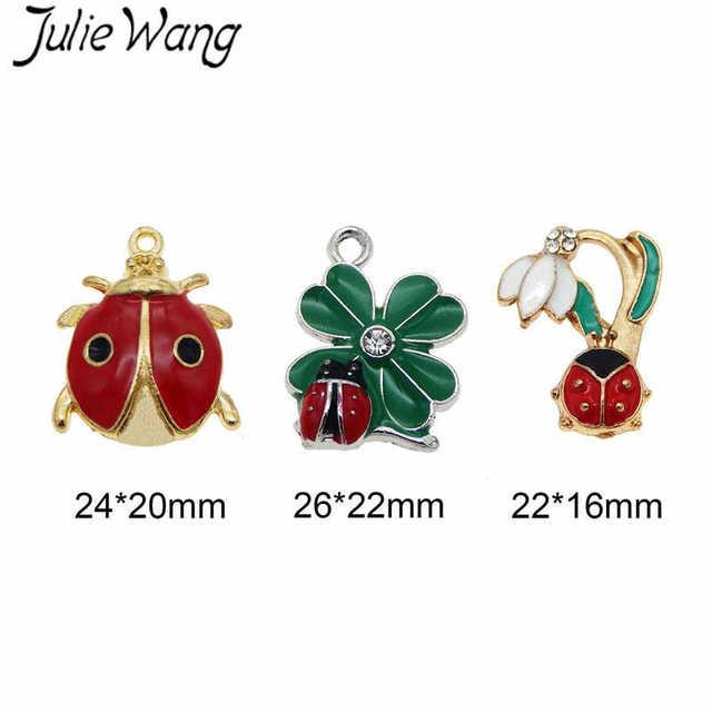 ae95e486d Julie Wang 6PCS Gold Silver Color Alloy Red Ladybug Four Leaf Clover Shape  Colorful Enamel Pendant Charm DIY Cute Dangle Finding