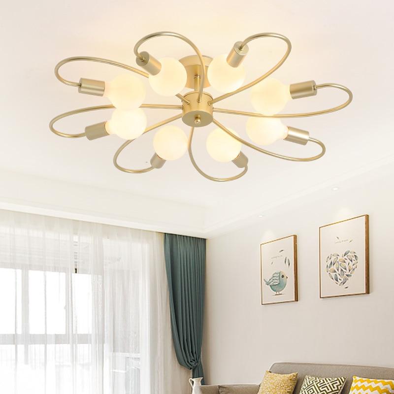 купить Northern Europe ceiling light Personality Simple Golden Art Living room Bedroom Restaurant Nordic style ceiling light онлайн
