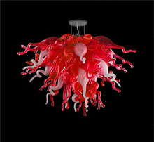 Modern Chandelier Hand Blown Glass Light Cheap Red and White Crystal LED