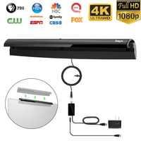 Livraison directe crochet Disign antenne HDTV réception de Signal intérieure numérique avec amplificateur Booster US adaptateur d'alimentation antenne Tv
