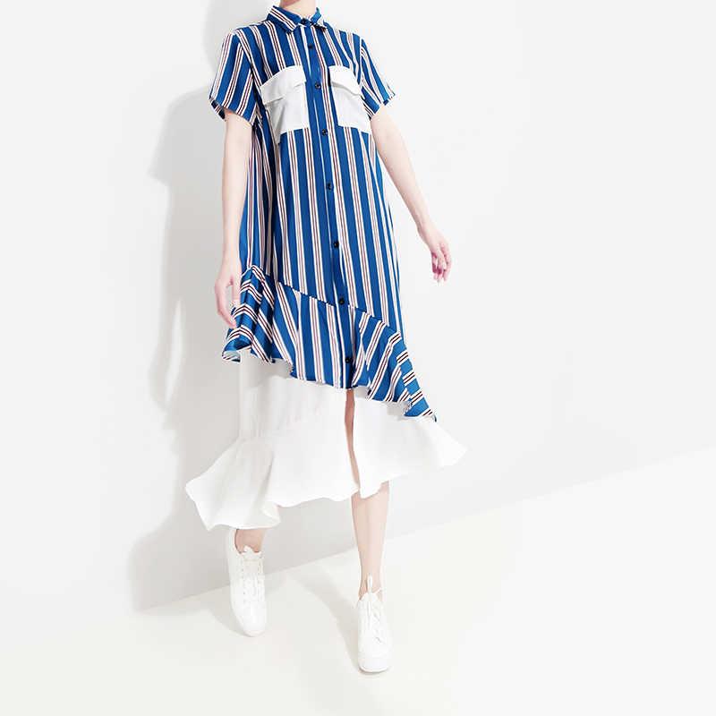 Женское платье-рубашка в полоску, повседневное голубое вечернее платье средней длины с карманами и оборками, модель 5052 в корейском стиле на лето, 2019