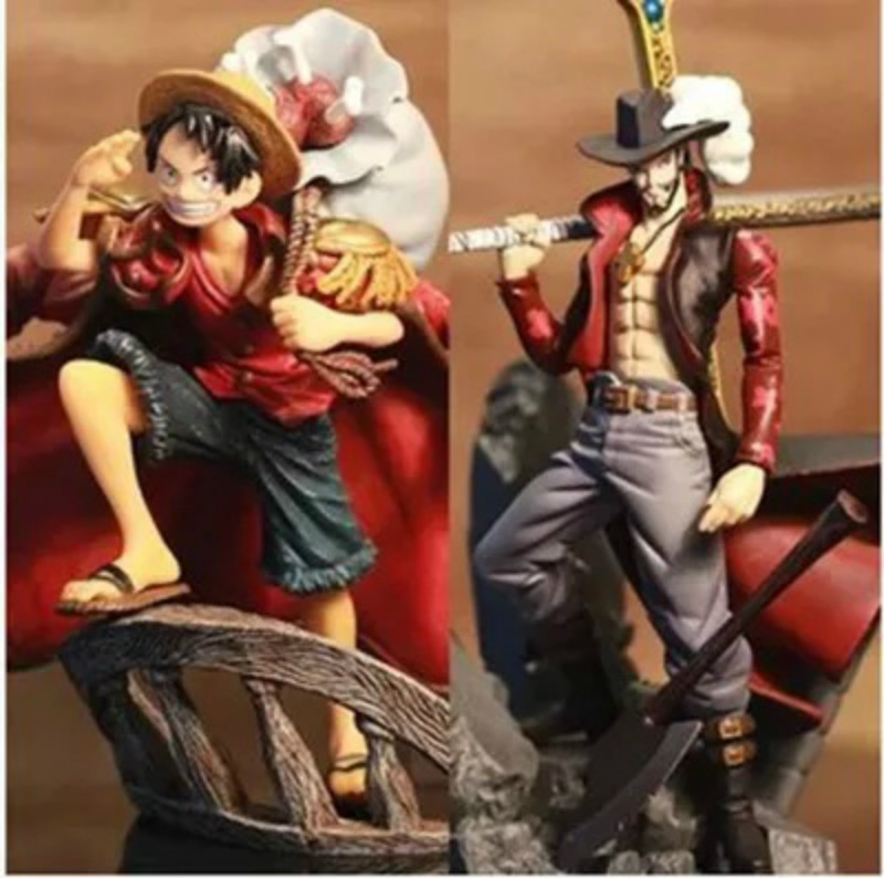 One Piece Luffy Dracule VS Mihawk Pvc Figurines 15 CM