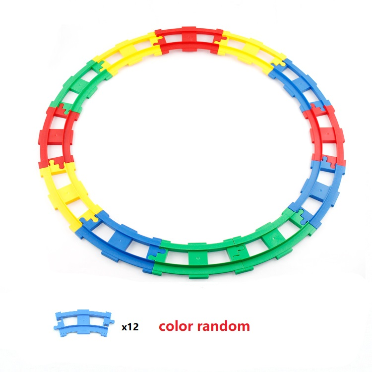 Train Track Sets Big Building Blocks Vehicle Accessories DIY Assembly Railway Children Interactive Toys Compatible Duplo