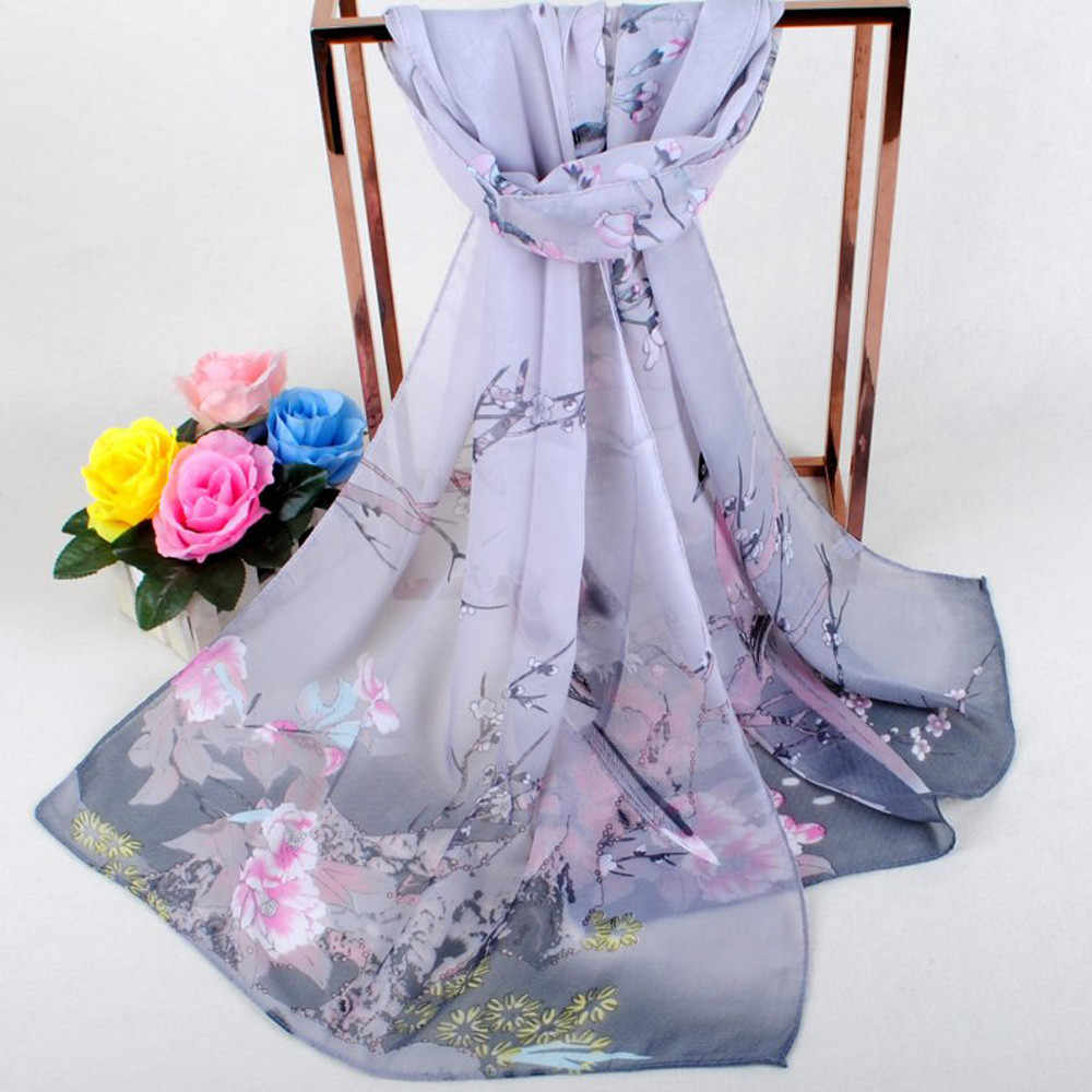 2019 Fashion Women Scarf Long Soft Wrap Scarf Ladies Shawl Chiffon Floral Print Soft Elegant Beautiful Scarf Scarves *