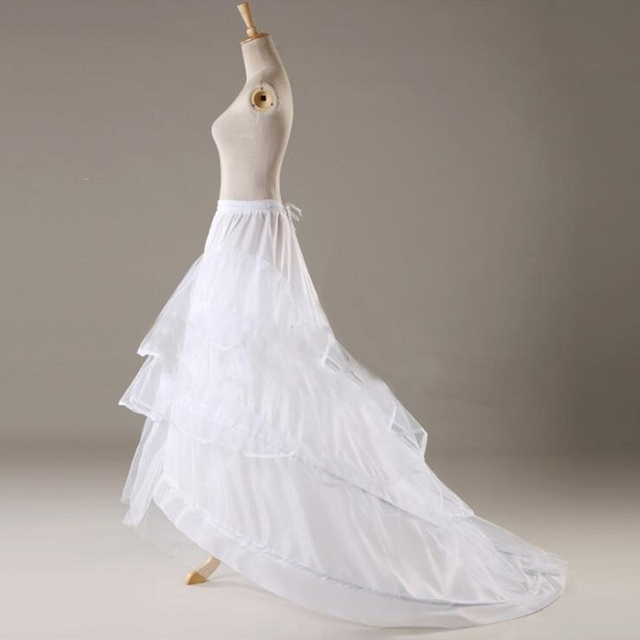Tulle jupon Crinolina Anáguas para Vestido de Noiva Hoop Petticoat com Trem enaguas novia