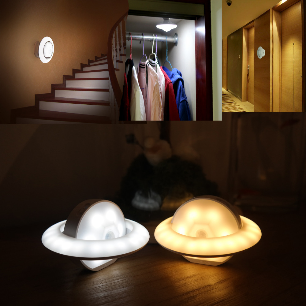 Intelligent Motion Sensor LED Human Body Induction UFO Night Light Rechargeable 360 Rotatable Lamp Magnet Decor Novelty Gifts led beetle nightlight porch stairway wall lamp wireless motion sensor intelligent led human body induction sconce night lights