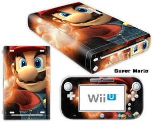 Image 2 - Mario Design Vinyl Skin Sticker For Wii U Console Cover with 2 Remotes Controller Skins For Nintend Decal Game Accessories
