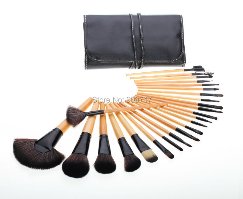 24 pcs Soft Synthetic Hair make up tools kit Cosmetic brush kits Beauty Makeup Brush Sets with Case professional brush 24pcs soft synthetic hair make up tools kit cosmetic beauty makeup brush black sets with leather case