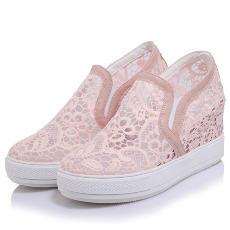 Plus size 34-45 New Summer Women Shoes Casual Cutouts Lace Hollow Floral Breathable Platform Shoe Increased Internal Mujer Shoes dreamshining summer women shoes casual cutouts lace canvas shoes hollow floral breathable platform flat shoe sapato feminino