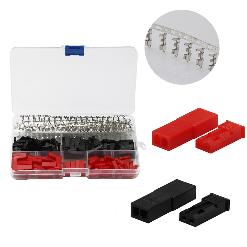 YT 600Pcs Red Black 2 Pin Header Jumper Cable Wire Connectors Housing Male Female Dupont Crimp Pin Connectors With Plastic Box diy hf 4 pin male female jack set adapters connectors black silver 2 pcs