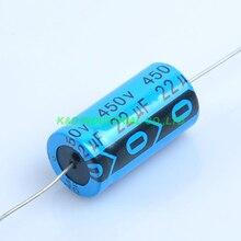 6pcs Axial Electrolytic Capacitor 22uf 450V Tube Amp DIY 16mm*31mm Radial цена и фото