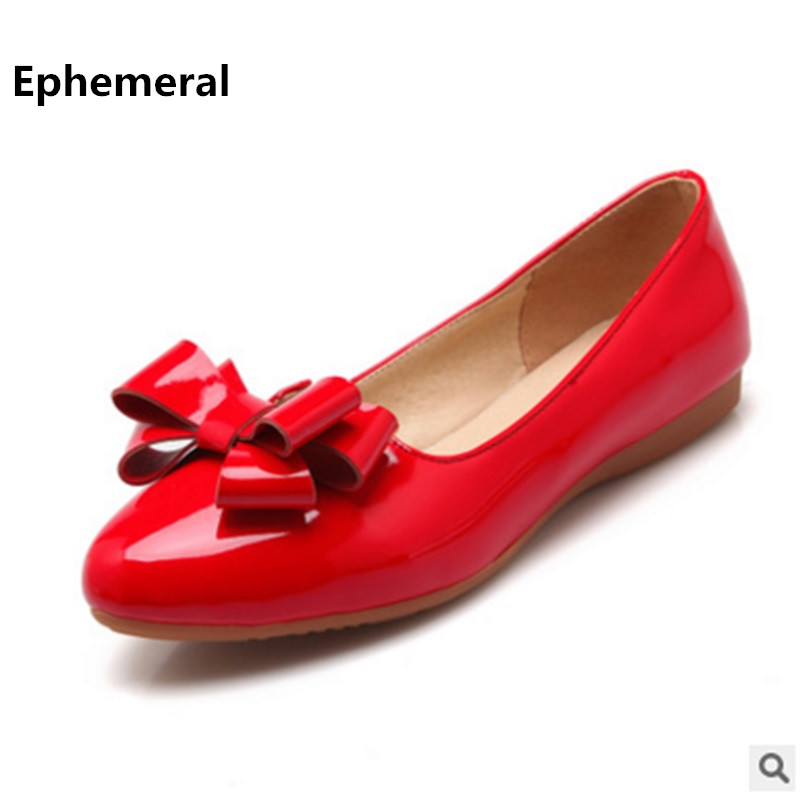 Ladies solid bow shoes flat round toe loafers patent leather slip-on big size 11 12 low cutter footwear casual shoes women red hee grand spring platform women pumps with bowtie patent leather shoes woman round toe slip on loafers ladies footwear xwd5975