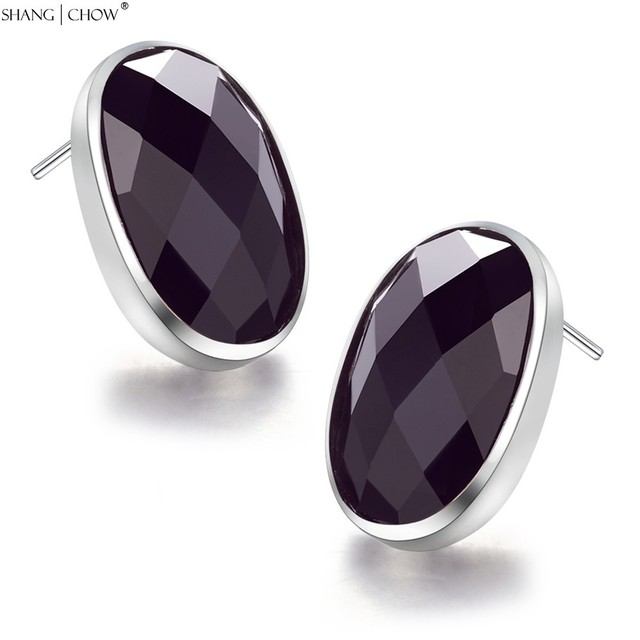 2017 Winter New Fashion Jewelry with Black Onyx stone modestly unusual women 925 Sterling Silver Earrings E0404