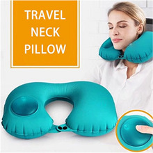 Travel Neck Pillow Automatic Inflatable Foldable U-Shape Comfortable Trip Pillows Support Nap Air Cushion for Adult Kids