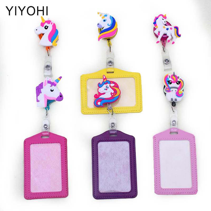 New Unicorn Silicone card case holder Bank Credit Card Holders Card Bus ID Holders Identity Badge with Cartoon Retractable Reel hot portable silicone bus card case holder cute cartoon kitty cat care student id identity badge credit cards cover with lanyard