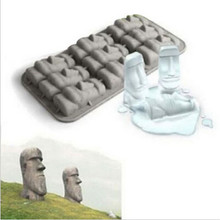 Nieuwe Paaseiland Moai Steen Standbeelden Ice Tray Cubes DIY Mould Zomer Mini Siliconen Cakevorm(China)
