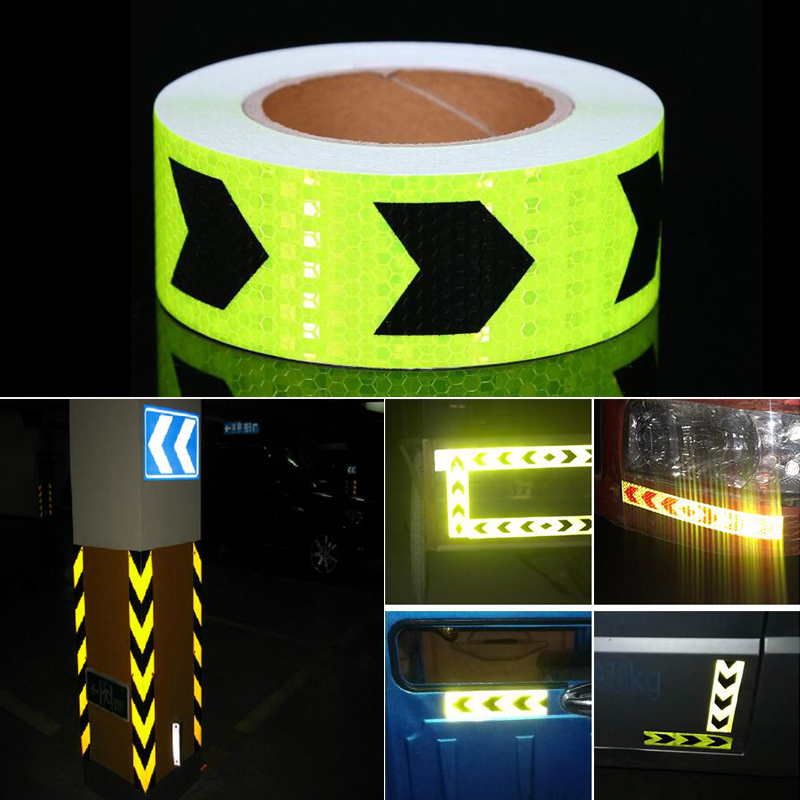 Купить с кэшбэком 5cm width Fluorescent Yellow Car Cycling Reflective Stickers Adhesive Tape Car Stickers Accessories