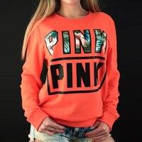 Love 2018 Pink Printed Hoodies Women Hoodies Cotton Sweatshirts Fleece Sweatshirt Moletons Femininos Floral Hoodie Women Hoodies