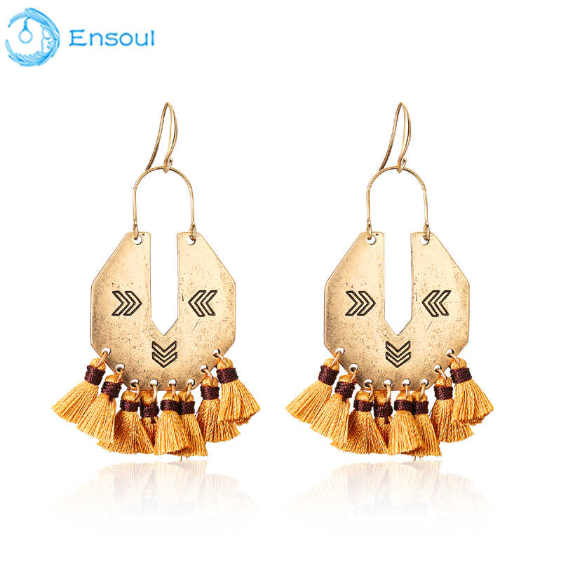 ENSOUL New Unique Tassels Vintage Fishhook Earrings For Women Fashion Elegance Trendy Hanging silver earrings