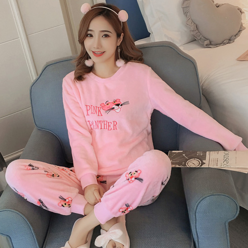 Winter Women Pyjamas Thicken Flannel   Pajama     Sets   Cartoon print Thick Warm Lovely pink Nightgown Sleepsuit Coral velvet two-piece