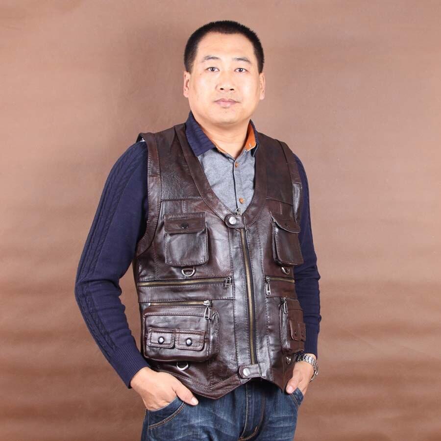 Erkek Kıyafeti'ten Jileler ve Yelekler'de Yeni Varış Hakiki Deri Yelek Erkek Kolsuz Ceketler Cepler Yelekler Yelek Sonbahar Kış Koyu Kahverengi L 6XL'da  Grup 3
