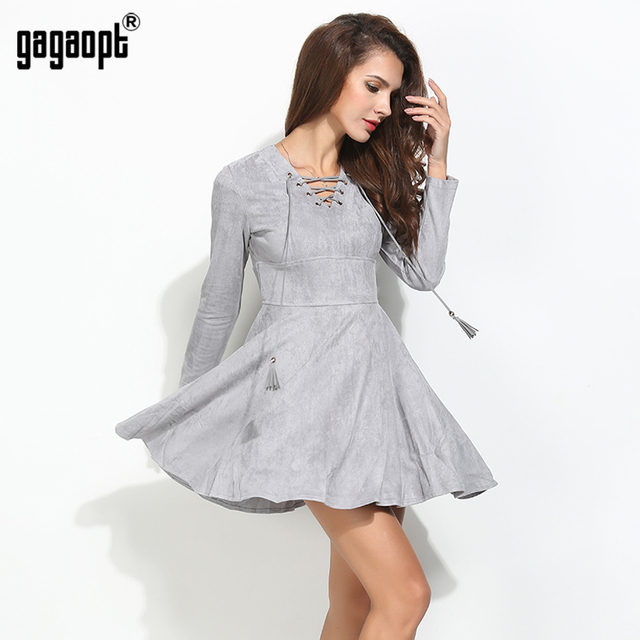 Gagaopt 2017 Jurken Spring Dress Sexy Vintage Dress Fashion Gray Bandage Boho V-neck Princess Party Dresses Vestidos Robes