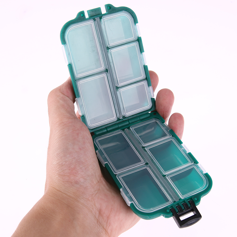 10 Pot Plastic Fishing Tackle Box Square Fish Hook Lures Storage Case Mini Carp Fishing peche Lure Hook Rig Bait Storage Case hook separator with lamp for night fishing to take the hook away from fish
