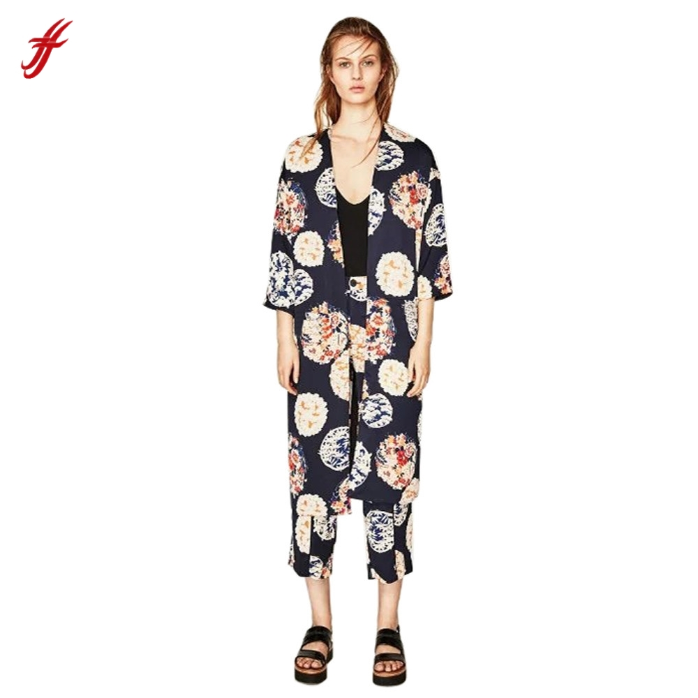 5a6e84d0784 FEITONG Women s High Street Style Floral Tassel Long Kimono Oversized Shawl  Tops Multicolor Long Clothing Plus Size MiMi2639