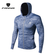 FANNAI Men running jacket Sports fitness Long sleeves with Hooded Tight Gym Soccer Reflective training Run Jogging Jackets
