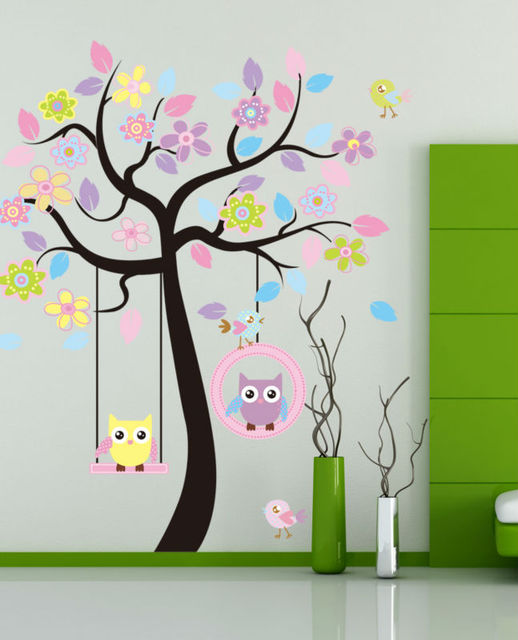 cute cartoon owl tree home decoration wall stickers for kids rooms