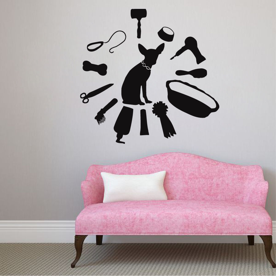 buy pet salon vinyl wall decal dog in shower grooming salon vet clinic mural. Black Bedroom Furniture Sets. Home Design Ideas