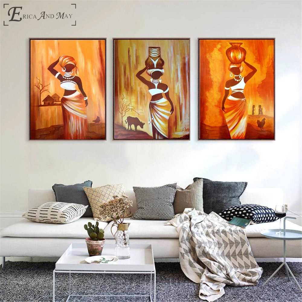 African Style Living Room Detail Feedback Questions About African Woman Triptych Style