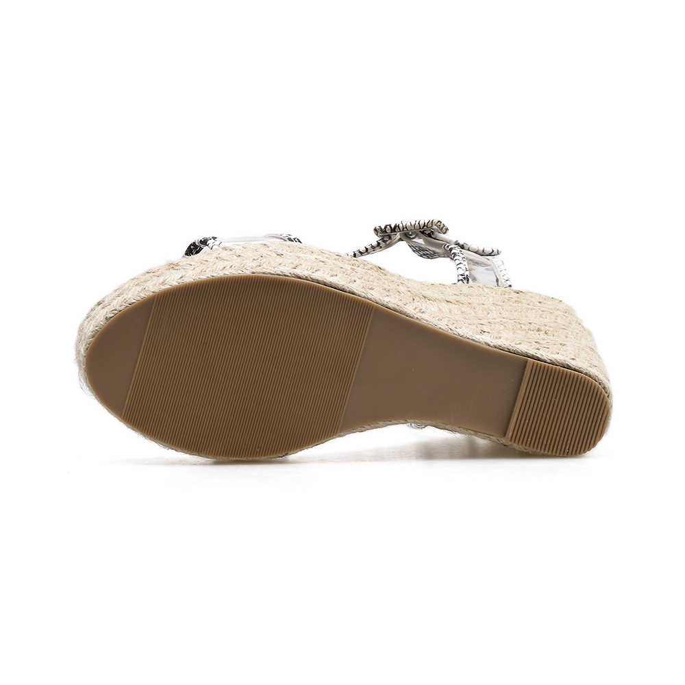 DongCiTaCi Women Wedges Sandals Clear Shoes Woman Casual Fashion Snake Print Weave Hemp rope Platforms Sandals High Heels Shoes