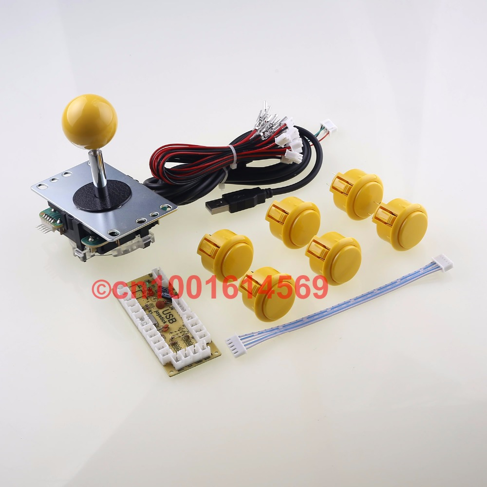 Genuine Japan SANWA JLF-TP-8YT Joystick Wires + 6 X SANWA Arcade Buttons OBSF-30 + PC Encoder Board For PacMan Games - Yellow