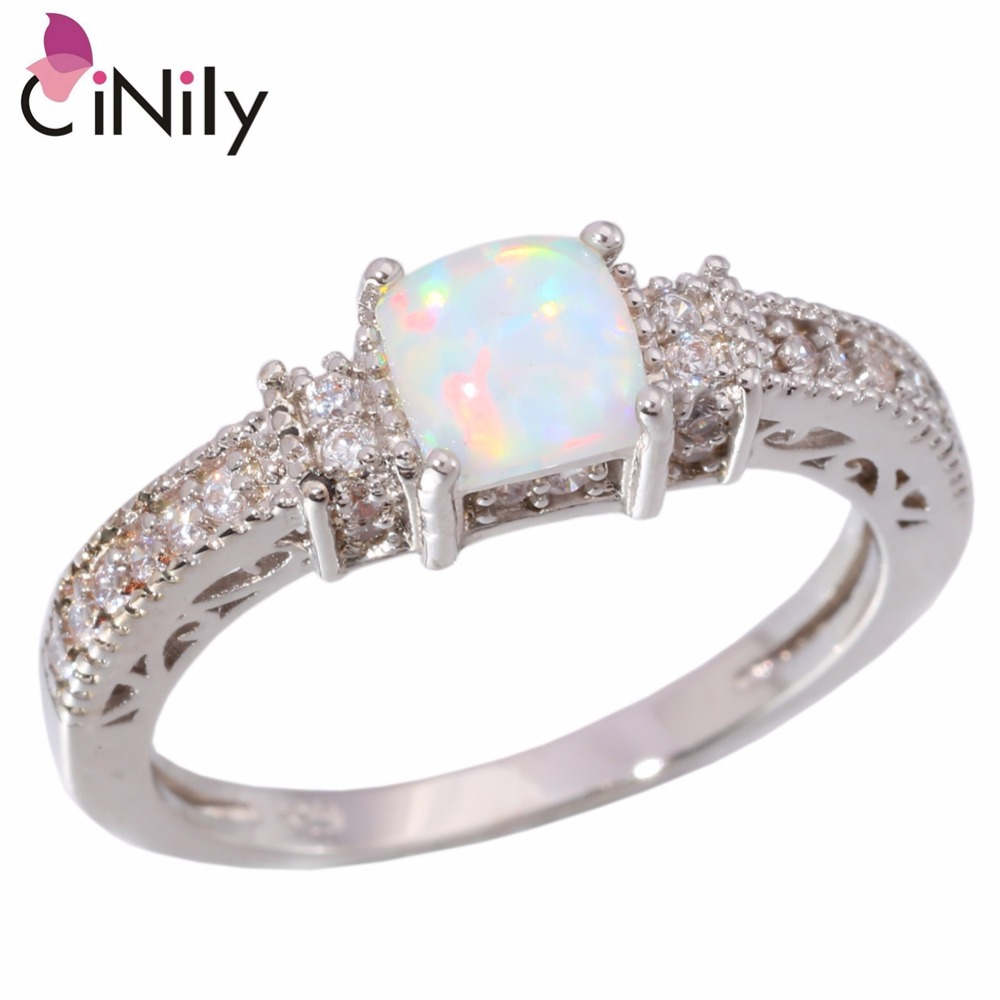 CiNily Created White Fire Opal Cubic Zirconia Silver Plated Ring Wholesale Hot Sell for Women Jewelry Ring Size 5-12 OJ5486