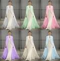 Fashion Baby Blue Satin Wedding Cape Long Muslim Bridal Wraps Long Bridal Jacket Halloween Bridal Cloak For Christmas