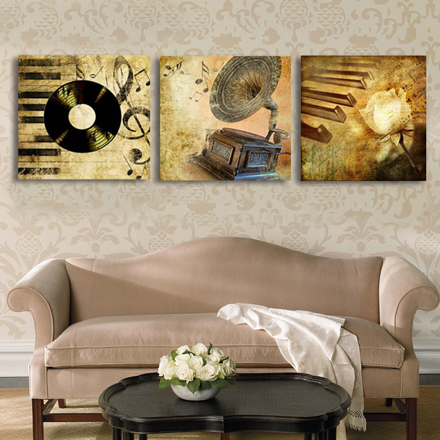 Aliexpresscom Buy 3 Panel GRAMOPHONE Music Pop Art Painting
