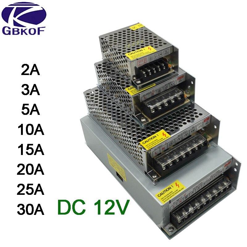 DC 12 V LED bande pilote adaptateur secteur 1A 2A 3A 5A 10A 15A 20A interrupteur alimentation AC110V-220V 24 V transformateur puissance 60 W 78 W 120 W