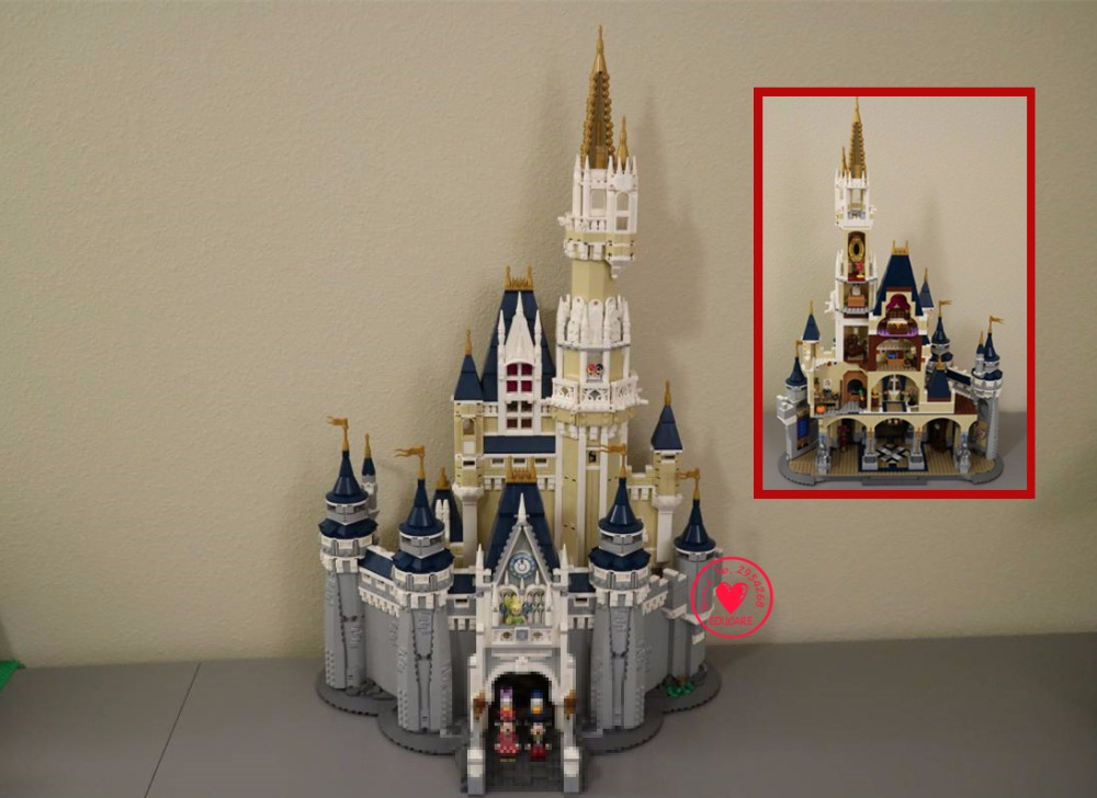 4080pcs 16008 Cinderella Princess Castle City set Model Building Block Kid DIY Birthday Compatible legoes Gift Toy Castle 71040 lepin 16008 creator cinderella princess castle city 4080pcs model building block kid toy gift compatible 71040